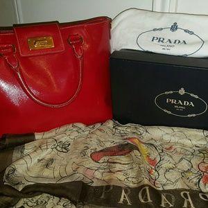 Prada Handbags - Authentic Prada Red Saffiano Vernic Medium Bag