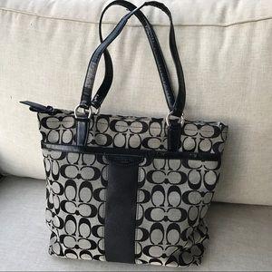 Coach Handbags - BLACK COACH signature shoulder purse BAG F28504