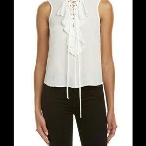Threadzwear Tops - Lace-up Ruffle Front Top