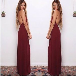 FLYNN SKYE BACKLESS HALTER MAXI DRESS