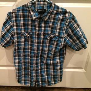 Split blue short sleeve button down shirt Medium