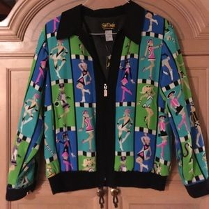 Bob Mackie Jackets & Blazers - Bob Mackie wearable Art silk jacket bomber