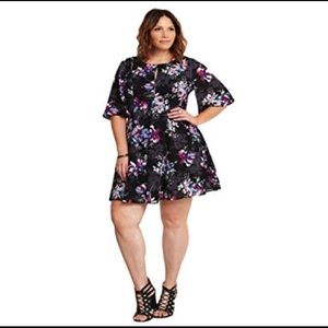 Torrid Floral Georgette Cutout Sleeve Skater Dress