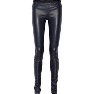 Helmut Lang leather plonge skinny pants leggings