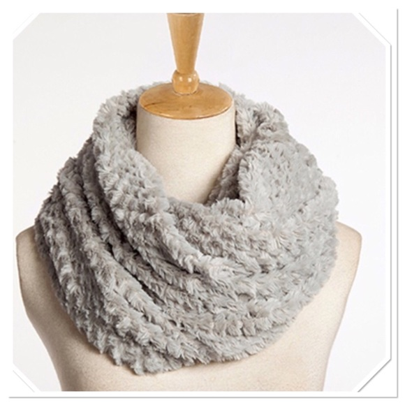 Boutique Accessories - Fuzzy Gray Infinity Scarf