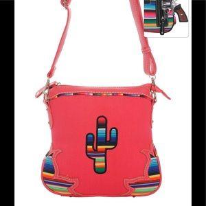 Handbags - Serape Cactus Cross Body Purse Messenger Bag Coral