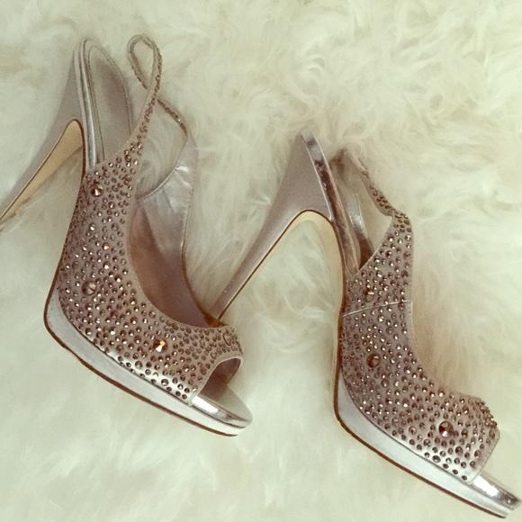 Bridal Shoes Aldo: Aldo Rhinestone Peep Toe Heels Size 9