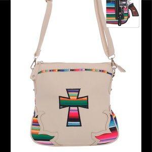 Handbags - Serape Cross Body Purse Messenger Bag Ivory
