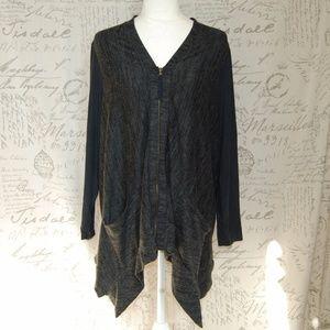 Lori Goldstein Gray Cardigan Zip Sweater Large