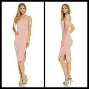 Dresses & Skirts - Elegant Pink Halter Neck Dress