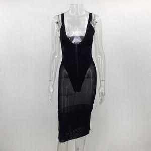 Dresses & Skirts - Black bodycon see through mesh dress