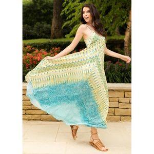 Charlie Jade Dresses & Skirts - 🆕 Charlie Jade Lemon & Teal 100% Silk Maxi Dress