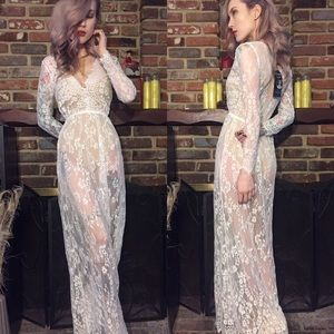 Dresses & Skirts - Pure white lace deep plunge maxi dress 2:2