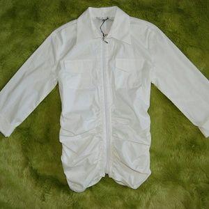 Cabi White Zip Front Ruching 3/4 Sleeves sz 6 NEW
