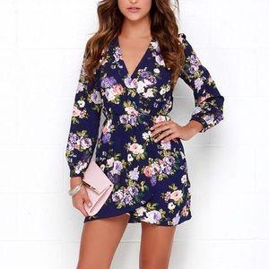 Lulus that's a wrap navy blue floral print dress