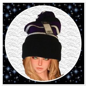 Black and Purple Beanie