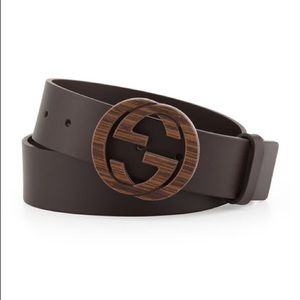 Gucci Other - Gucci Wood Interlocking G Buckle Leather Belt