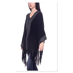 Color Block Side Tail Poncho
