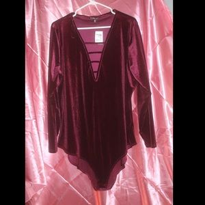 Charlotte Russe Other - Maroon Velvet Bodysuit  With Cutouts