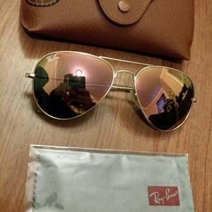 Ray-Ban Accessories - Rayban Rose Gold Pink Aviator