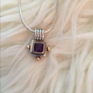 Jewelry - 14K Yellow Gold Amethyst Sterling Silver Necklace