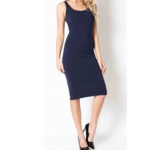 Classic Woman Dresses & Skirts - Simple, navy blue tank midi dress