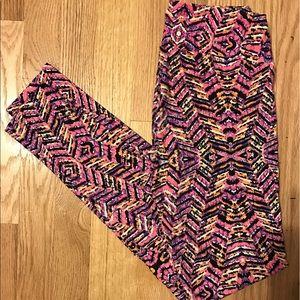 LuLaRoe Pants - NWOT OS LuLaRoe leggings -pink/orange/purple/black