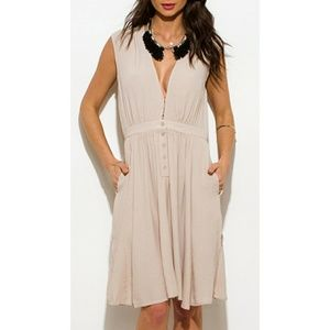Dresses & Skirts - NWOT Tan Deep V Sun Dress