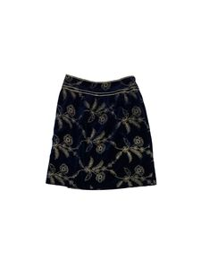 Cynthia Steffe Dresses & Skirts - Cynthia Steffe- Blue & Gold Velvet Embroidered Skirt Sz 6
