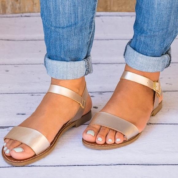 bf1e10b74a44 👠96 Kim Light Gold Classic Strap Sandals