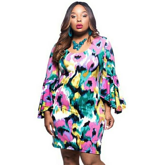 Solace Dresses | Womens Plus Size Hawaiian Multi Color Bell Sleeve ...
