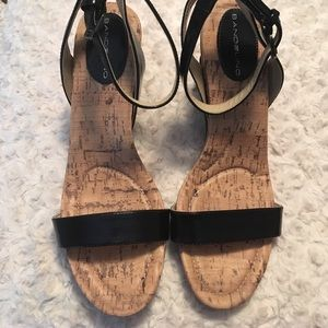 Bandolino Shoes - Bandolino Black & Cork Wedges