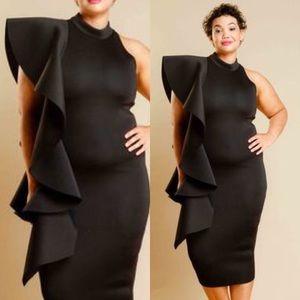 Dresses & Skirts - Plus Size Cascade Casual Midi Dress Ruffle Dress