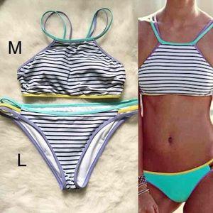 M L Strappy Striped Sporty Bikini VS