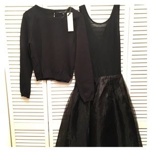 English Factory Black Tulle Skirt Dress
