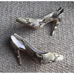 Delman Shoes - Delman sz 9 Cut Out Snakeskin Snake Pumps Heels