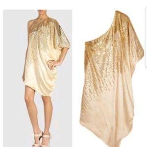Halston Heritage asymetrical gold dress NWT