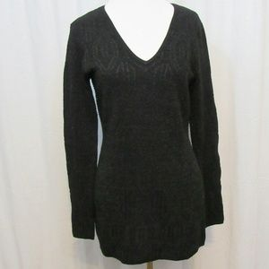 Cache Tops - Cache Black Sparkly V Neck Knit Top M
