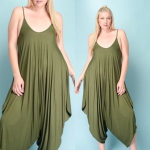Passion of Essense Pants - PLUS SIZE SOLID OLIVE SLEEVELESS HAREM JUMPSUIT