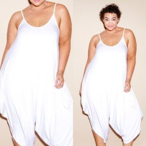 Passion of Essense Pants - PLUS SIZE SOLID WHITE SLEEVELESS HAREM JUMPSUIT