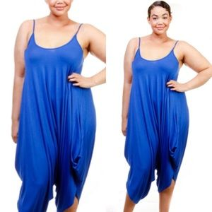 Passion of Essense Pants - PLUS SIZE ROYAL BLUE SLEEVELESS HAREM JUMPSUIT