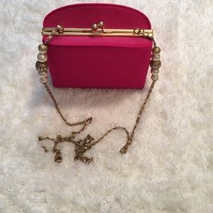 Beautiful Fuchsia beaded shoulder evening bag