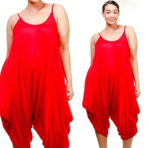 Passion of Essense Pants - PLUS SIZE SOLID RED SLEEVELESS HAREM JUMPSUIT