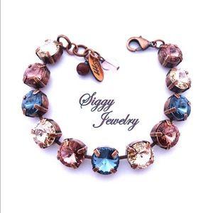 Swarovski Crystal Bracelet in Denim Blue and Pink