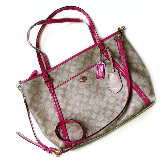 Coach Handbags - Coach Signature CC Crossbody Tote with Pink Trim 5807a621cc827