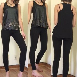 Andree Tops - Faux Leather Laser-Cut Tank Top Size Small