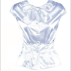 Stop Staring Tops - Stop Staring! Pin Up Girl White Satin Bow Blouse