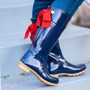 Joules Shoes - JOULES Evedon Navy Tall rain Boot with Red Ribbon