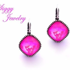 Hot Pink Earrings Made With Swarovski Crystals