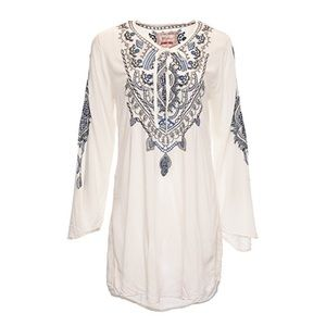 Johnny Was Tops - Biya By Johnny Was White Mia Rayon Blouse